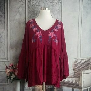 New Directions Women's Blouse Red Plus Size 3X NWT
